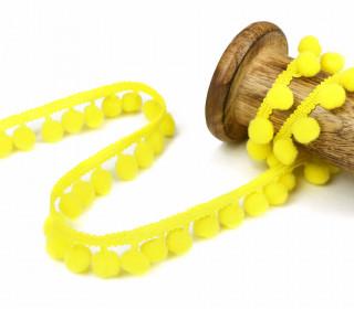 1 Meter Bommelborte mit Zierband - 1cm - Bommeln - Pomponborte - Uni - Gelb