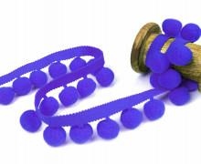 1 Meter Bommelborte mit Zierband - 2cm - Bommeln - Pomponborte - Uni - Royalblau