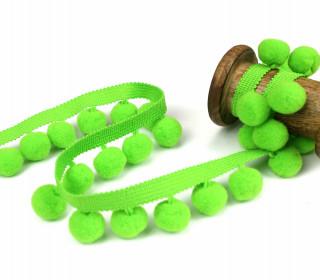 1 Meter Bommelborte mit Zierband - 2cm - Bommeln - Pomponborte - Uni - Hellgrün