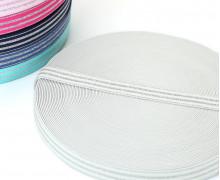 1m Gummiband - elastisch - Glitzer - Streifen - 20mm - Weiß/Silber