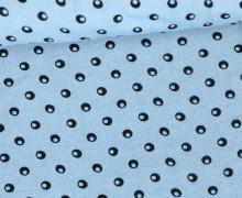 Javanaise - Blusenstoff - Kreise - Punkte - Taubenblau