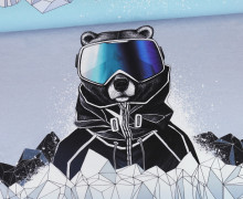Sommersweat - Paneel - Snowboard Bear - Winter - Graublau Meliert - Thorsten Berger - abby and me
