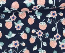 Stoff - Beeren - Blumen - Erdbeeren - Strawberries - Berry Blossoms - Nachtblau
