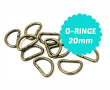 10 D-Ringe 20mm - Taschenringe - Altmessing