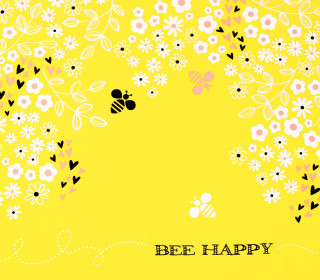 Stoff - Paneel - Bienen - Bee Happy - Blumen - Flowers - Bee Youtiful - Zitronengelb