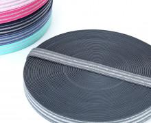 1m Gummiband - elastisch - Glitzer - Streifen - 20mm - Grau/Silber