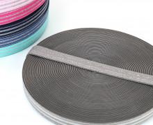 1m Gummiband - elastisch - Glitzer - Streifen - 20mm - Taupe/Silber