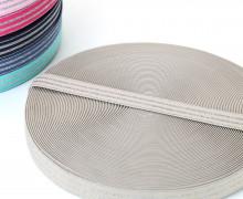 1m Gummiband - elastisch - Glitzer - Streifen - 20mm - Sand/Silber