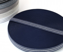 1m Gummiband - elastisch - Glitzer - Streifen - 20mm - Dunkelblau/Silber