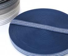 1m Gummiband - elastisch - Glitzer - Streifen - 20mm - Blau/Silber