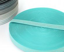 1m Gummiband - elastisch - Glitzer - Streifen - 20mm - Mintblau/Silber