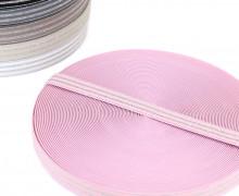 1m Gummiband - elastisch - Glitzer - Streifen - 20mm - Rosa/Silber