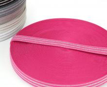 1m Gummiband - elastisch - Glitzer - Streifen - 20mm - Pink/Silber