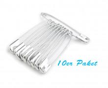 10 Sicherheitsnadeln - Länge 45mm - Silber