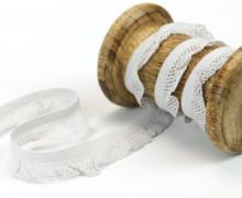 1m elastisches Rüschenband - 15mm - Rüschen - Gummiband - Hellgrau