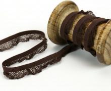 1m elastisches Rüschenband - 15mm - Rüschen - Gummiband - Dunkelbraun
