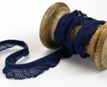 1m elastisches Rüschenband - 15mm - Rüschen - Gummiband - Dunkelblau