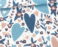 Jersey - Bio Qualität - Blossom Hearts - Weiß/Blau - abby and me