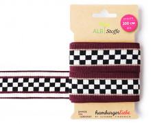 Jacquard-Streifenband - Stripe Me - Icon - GLOW - Karomuster - Bordeaux - Hamburger Liebe