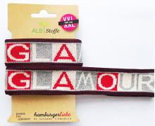 Jacquard-Streifenband - Stripe Me - Icon - GLOW - Glamour - Bordeaux - Hamburger Liebe