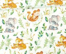 Jersey - Bio Qualität - Kuschlige Wildnis - Tiere - Wildtiere - Dschungel - Weiß - abby and me