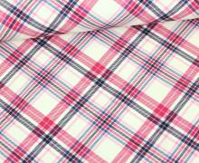 Sommersweat - Caro-line - Karo - Kleinkariert - Cremeweiß/Pink