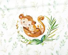 Jersey - Bio Qualität - Paneel - Kuschlige Wildnis - Affen - Monkey - Blätter - Weiß - abby and me