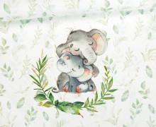 Jersey - Bio Qualität - Paneel - Kuschlige Wildnis - Elefant - Blätter - Weiß - abby and me