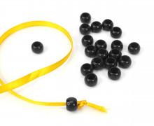20 Kunststoffperlen - Durchzug 9x10mm - Schwarz