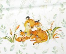 Jersey - Bio Qualität - Paneel - Kuschlige Wildnis - Gepard - Blätter - Weiß - abby and me