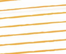 Jersey - Bio Qualität - Kombistoff - Kuschlige Wildnis - Streifen - Weiß/Gelbbraun - abby and me