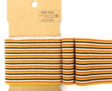 Bündchen - Boord Cuffs - Rippen - kleine Streifen - Orange/Rose