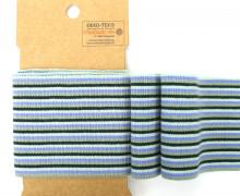 Bündchen - Boord Cuffs - Rippen - kleine Streifen - Blaulila/Mint