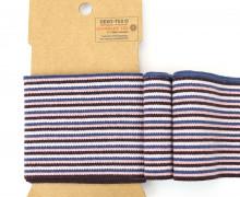 Bündchen - Boord Cuffs - Rippen - kleine Streifen - Blau/Rosa
