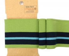 Bündchen - Boord Cuffs - Rippen - breite Streifen - Maigrün/Cyanblau