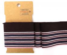 Bündchen - Boord Cuffs - Rippen - schmale und breite Streifen - Dunkelbraun/Rosa