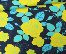 Jersey - Full in Bloom - Blumen - Blüten - Nachtblau/Gelb