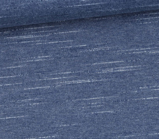 Seemannssweat - French Terry - Slub - Linien - Little Darling - Jeansblau Meliert