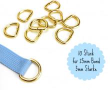 10 D-Ringe - 25mm - Taschenring - Gold