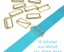 10 dünne Schieber aus Metall für 30mm Band - Gold