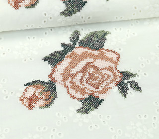 Stoff - Stickerei - Rosen - Summer Breeze - Milliblus - Weiß