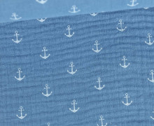 Musselin Lotta - Double Gauze -  Anker - Anchor - Taubenblau Hell