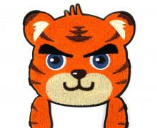 1 Aufnäher - Patch - Flausch - 21cm x 24,5cm - CuteTiger - Fancy Friends - Orange