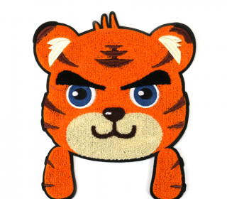 1 Aufnäher - Patch - Flausch - 21cm x 24,5cm - CuteTiger - Fancy Friends - Orange