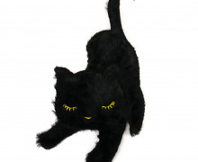 1 Aufnäher - Patch - Flausch - 16,5cm x 38cm - Katze - Cat - Fancy Friends - Schwarz