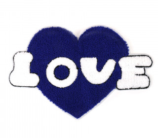 1 Aufnäher - Patch - Flausch - 25cm x 17cm - Love - Heart - Fancy Friends - Blau/Weiß