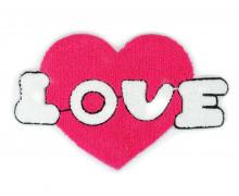 1 Aufnäher - Patch - Flausch - 25cm x 17cm - Love - Heart - Fancy Friends - Pink/Weiß