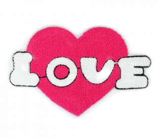 1 Aufnäher - Patch - Flausch - 25cm x 17cm - Love - Heart - Fancy Friends - Pink/Weiß
