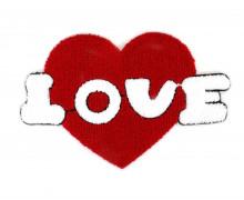 1 Aufnäher - Patch - Flausch - 25cm x 17cm - Love - Heart - Fancy Friends - Rot/Weiß