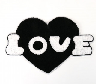 1 Aufnäher - Patch - Flausch - 25cm x 17cm -  Love - Heart - Fancy Friends - Schwarz/Weiß